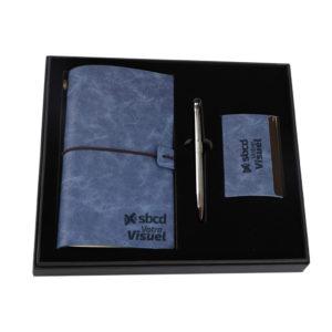 Coffret trois pièces notebook avec porte cartes et stylo métal